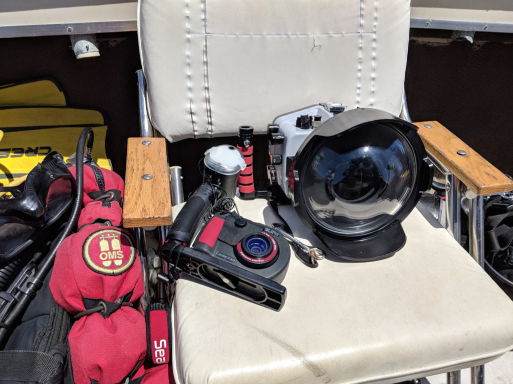 Texas Rig Diving Trip - Darin's small camera and my big camera.