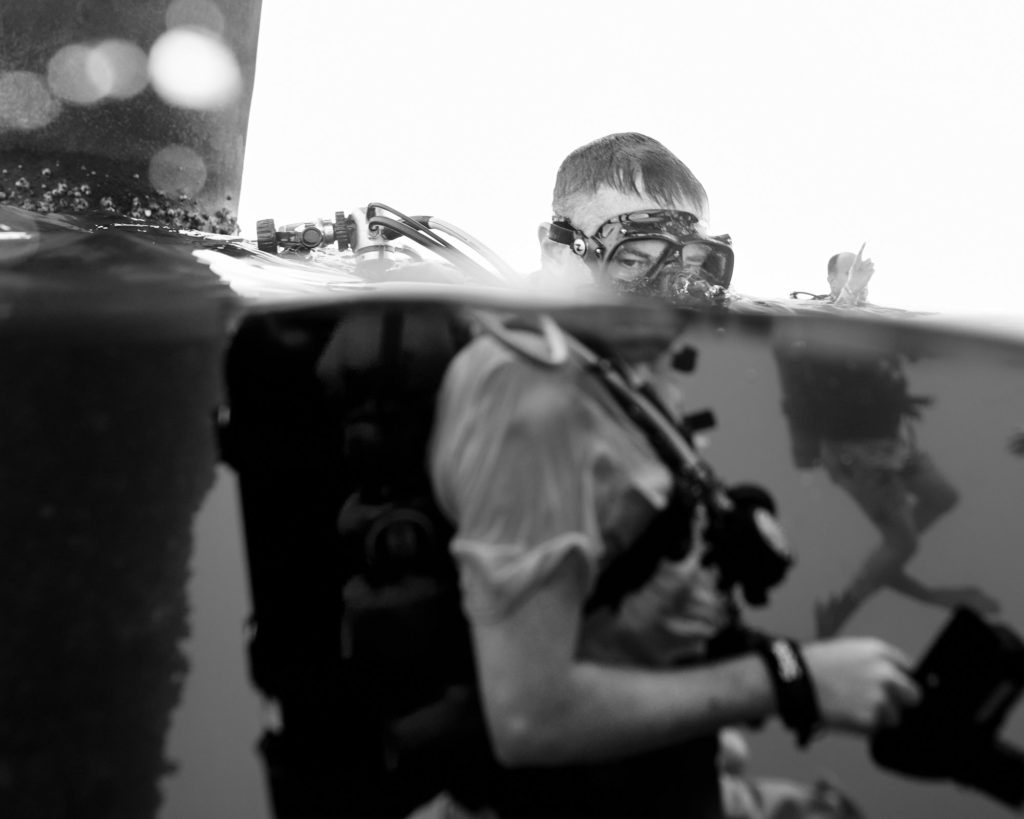 Darin Preparing to Submerge - Texas Rig Diving Trip - Underwater Photography