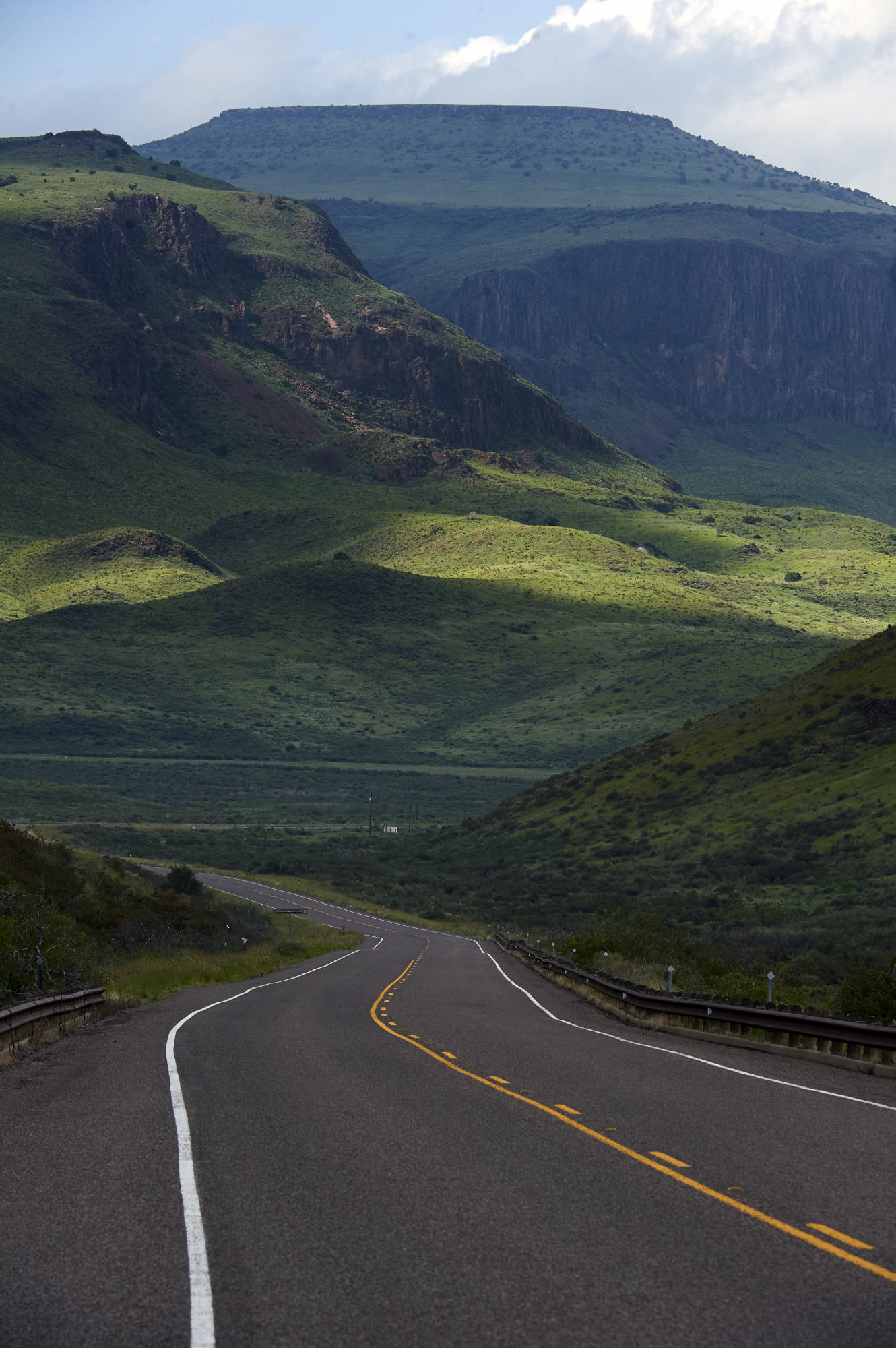 The road into the Davis Mountains looking Backwards