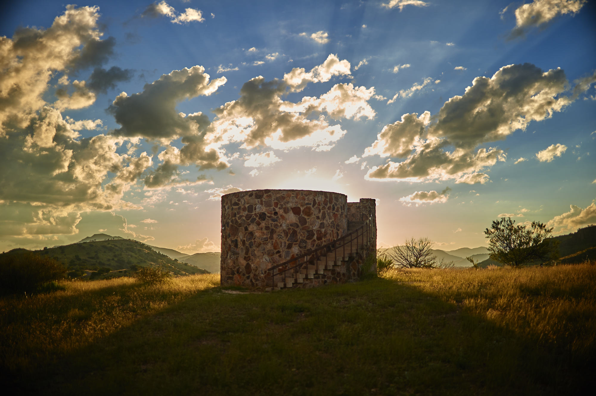 Sunset behind the watch tower on Skyline Drive in Davis Mountains State Park