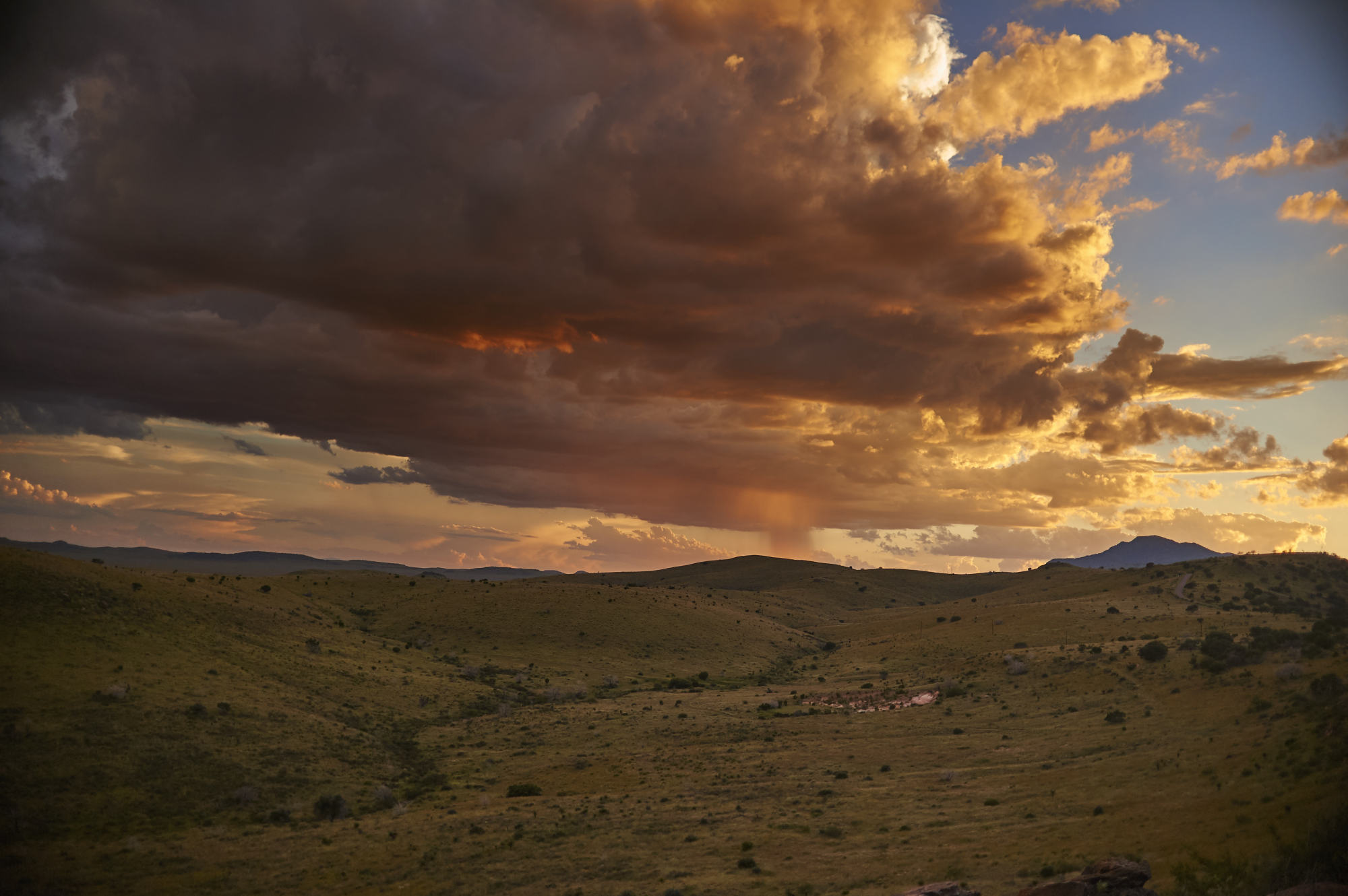 Thunderstorms at sunset from Skyline Drive at Davis Mountains State Park