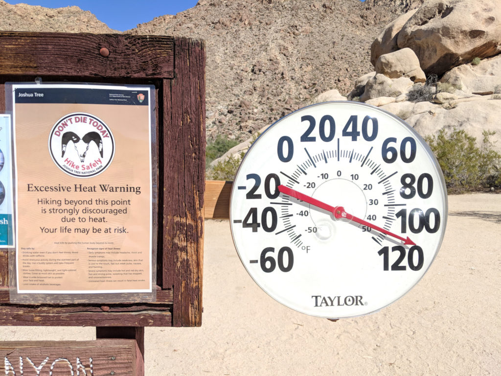 Excessive Heat Warning Sign and Thermometer at Joshua Tree National Park Indian Cove
