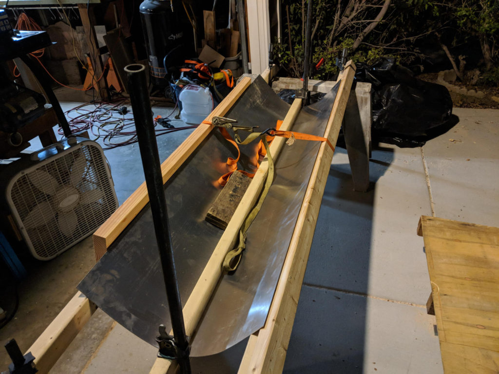 Improvised aluminum bending rig.