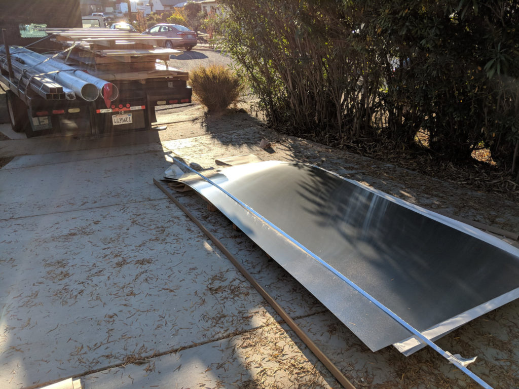 Aluminum skin for my teardrop being delivered.