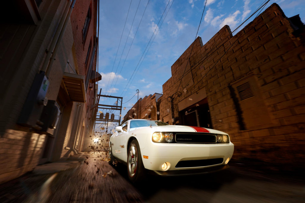A virtual rig photo of a dodge challenger.