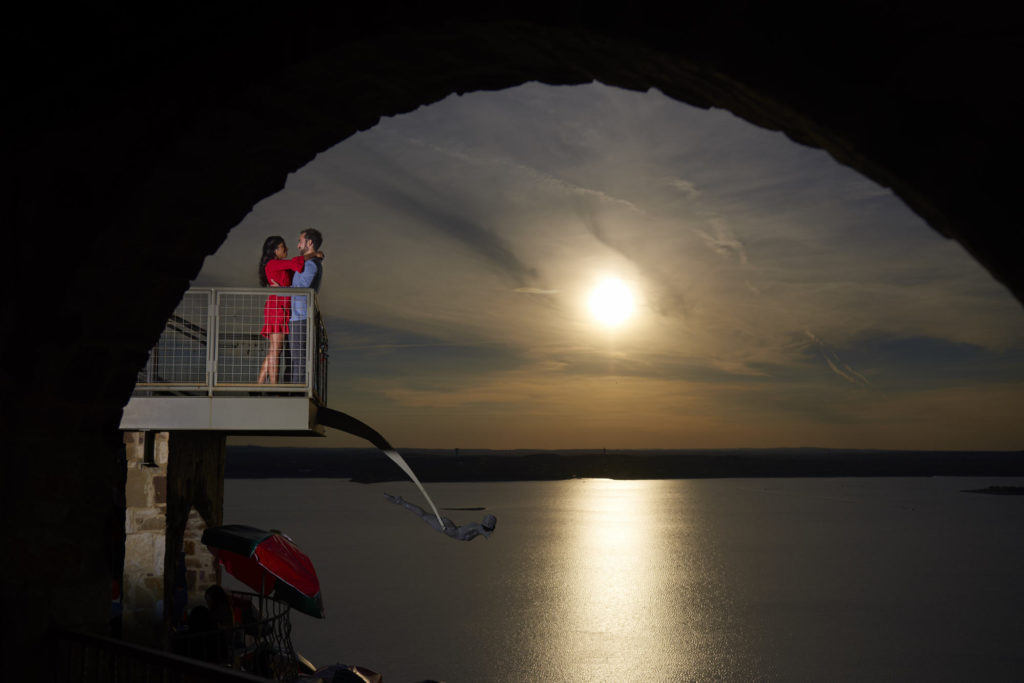 Engagement photos at the Oasis on lake Travis.