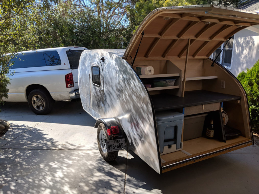 Teardrop galley loaded and ready for camping.