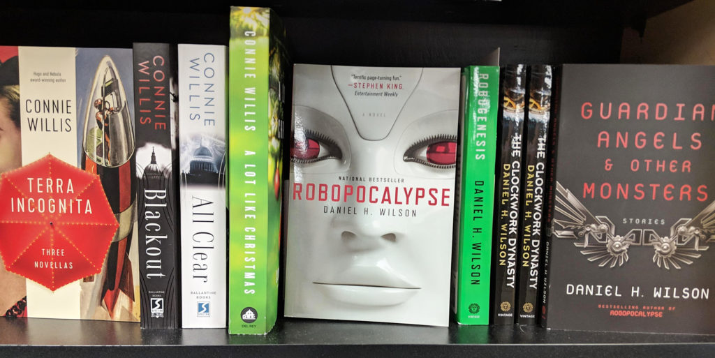Book covers on display - Daniel H Wilson - Robopocalypse