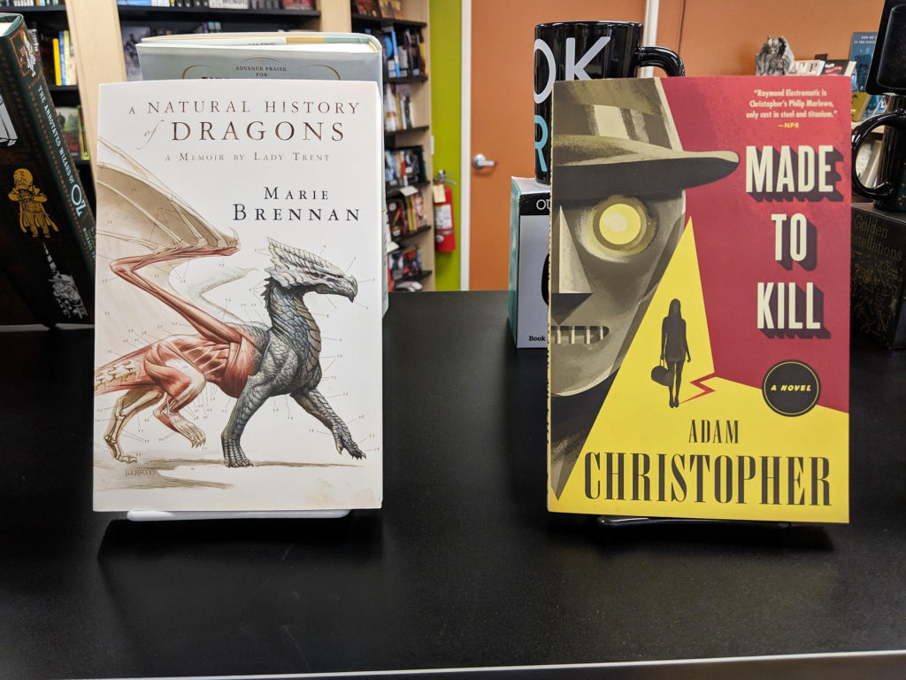 Book covers on display - Marie Brennan - A Natural History of Dragons and Made to Kill by Adam Christopher