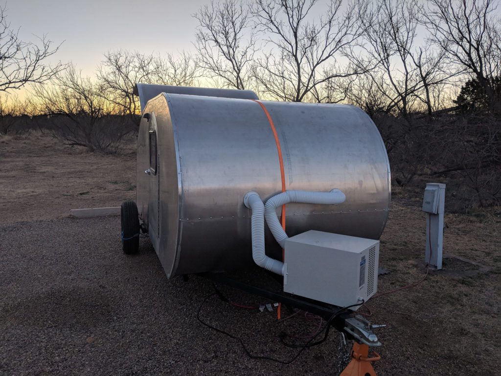 The teardrop at Caprock Canyon with heat pump set up.