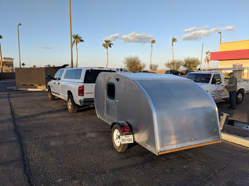 Getting lunch in Arizona with the teardrop camper.