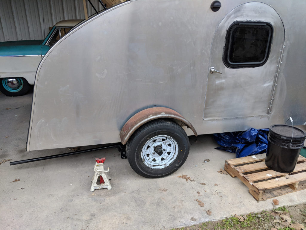 The new fender test fit on the teardrop camper.